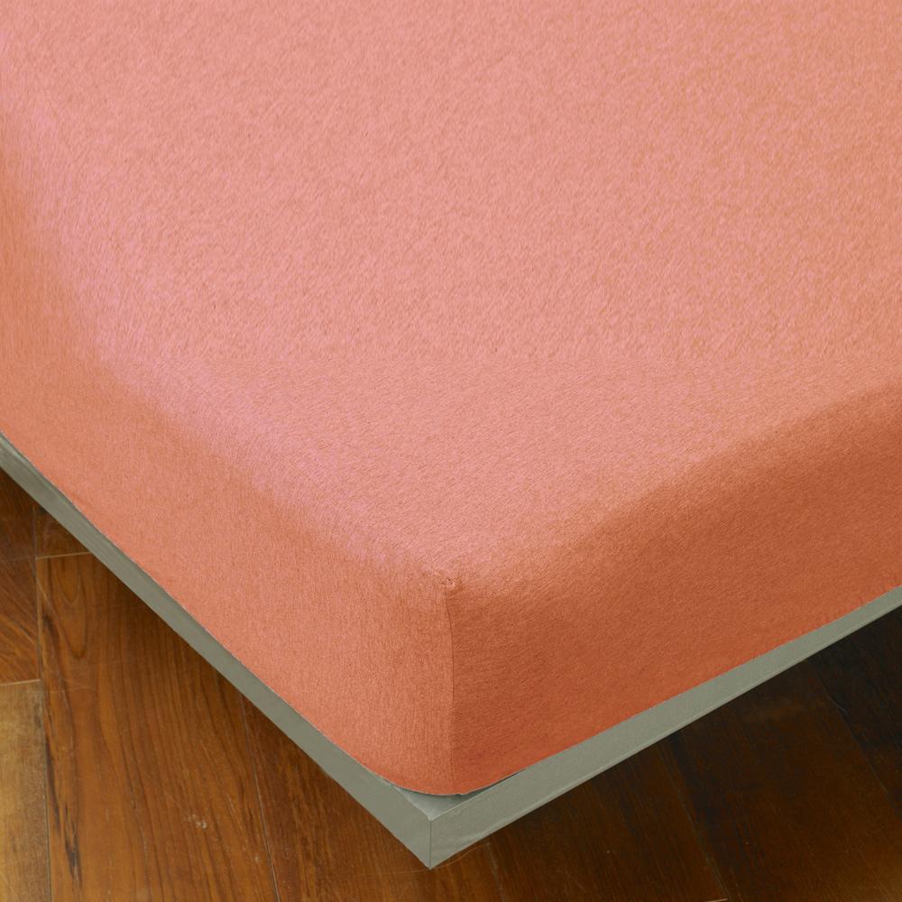 Yvonne Collection 雙人素面床包-粉橘紅