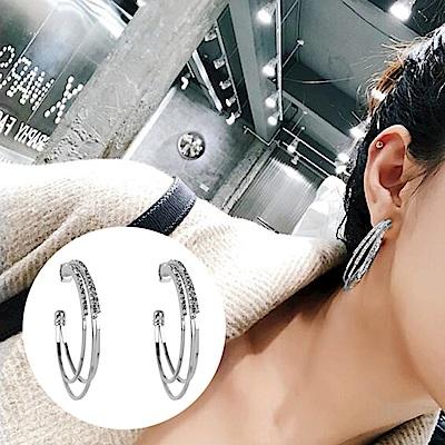 梨花HANA  韓國S925銀針水鑽圈圈多層耳環