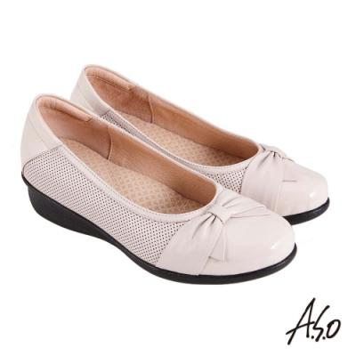 A.S.O 職場通勤 紓壓氣墊嚴選牛皮蝴蝶結奈米通勤鞋-白