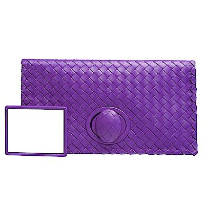 BOTTEGA VENETA 經典小羊皮編織轉釦摺疊長型手拿包(亮紫)