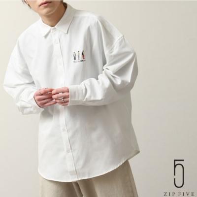 ZIP日本男裝 單點刺繡長袖寬版牛津襯衫 (9色)