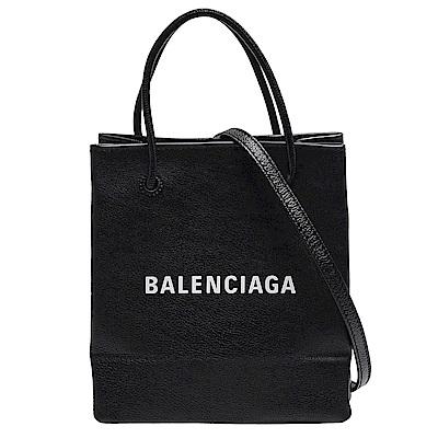 BALENCIAGA 品牌白色字母LOGO小牛皮手提/斜背拖特包(黑)