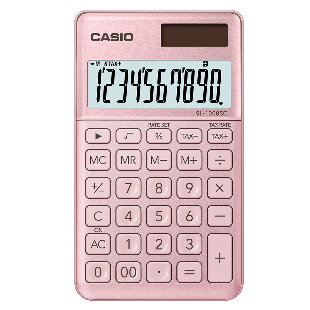 CASIO 10位元時尚霧面系列攜帶型計算機(SL-1000SC-PK)-甜心粉