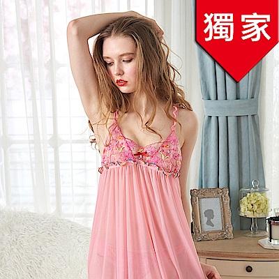 睡衣 微透彈性雪紡紗性感睡衣 魅惑風情(R86002-2粉)台灣製造 蕾妮塔塔