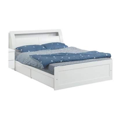綠活居 尼爾德 現代白5尺雙人收納床台組合(床頭箱+四抽床底+不含床墊)-154x220x101cm免組