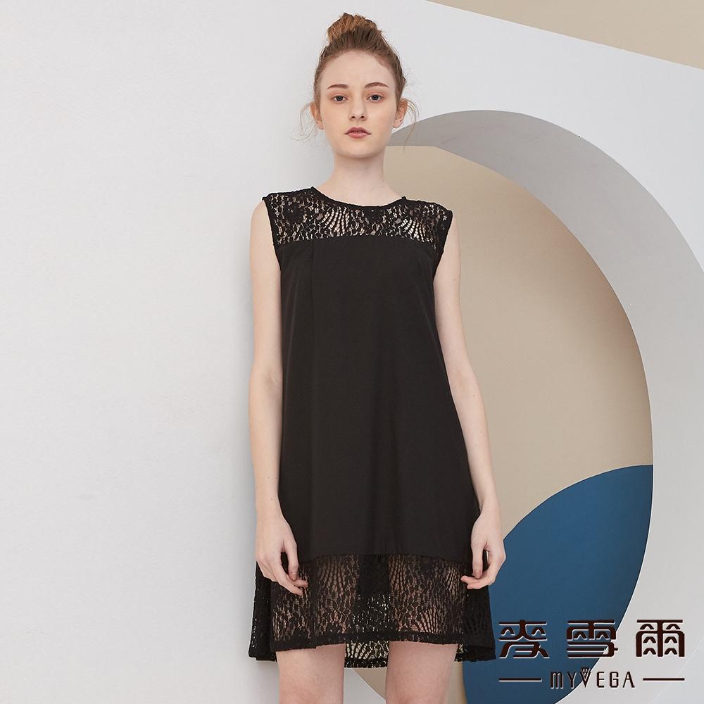 【麥雪爾】氣質典雅蕾絲拼接背心洋裝