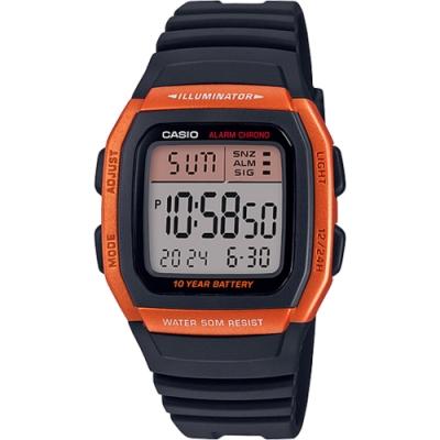 CASIO 城市個性休閒電子錶-橘框(W-96H-4A2)/22*24mm