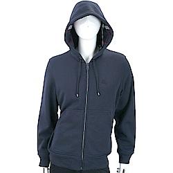 BURBERRY 格紋細節深藍色平織連帽開襟運動衫