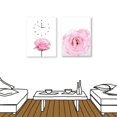 24mama掛畫-二聯式 粉色花卉 時鐘掛畫 無框畫 30X40cm-綻放