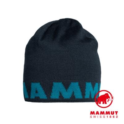 【Mammut 長毛象】Mammut Logo Beanie 正反兩用LOGO保暖羊毛帽 海洋藍 #1191-04891