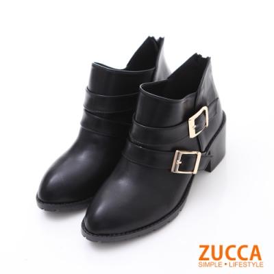 ZUCCA V雙釦飾皮革低跟短靴-黑色-z6234bk