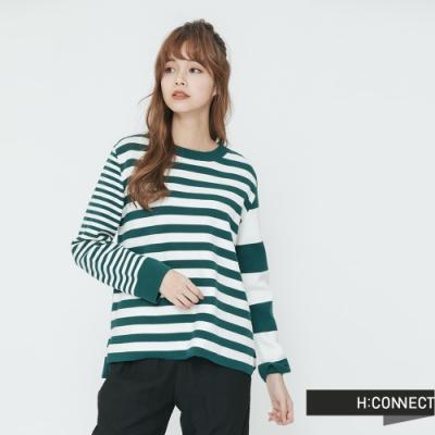 H:CONNECT 韓國品牌 女裝-不對稱條紋細針織上衣-綠(快)