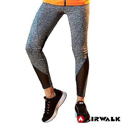 【AIRWALK】男款運動緊身長褲-淺麻灰色