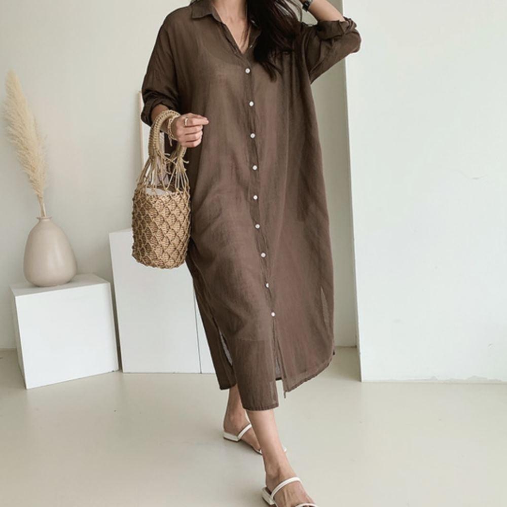 La Belleza簡約舒適棉麻紗長版單排釦下擺側邊開叉長版襯衫洋裝