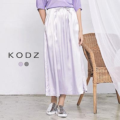 東京著衣-KODZ 修身亮面綁帶長裙-S.M(共二色)