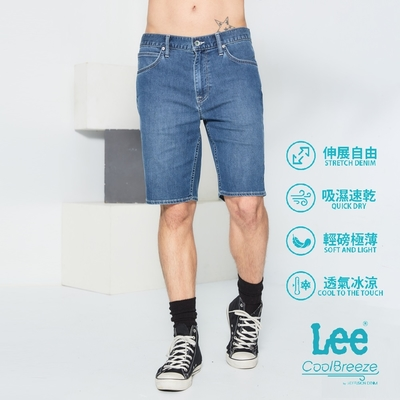 Lee Cool Breeze涼感水洗牛仔短褲 男款 中藍
