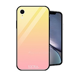 VXTRA iPhone XR 6.1吋 玻璃鏡面防滑全包保護殼(朝霞黃)
