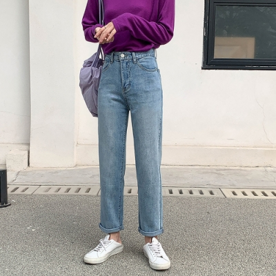 THG 韓版寬鬆顯瘦復古高腰直筒牛仔褲- 中藍/淺藍
