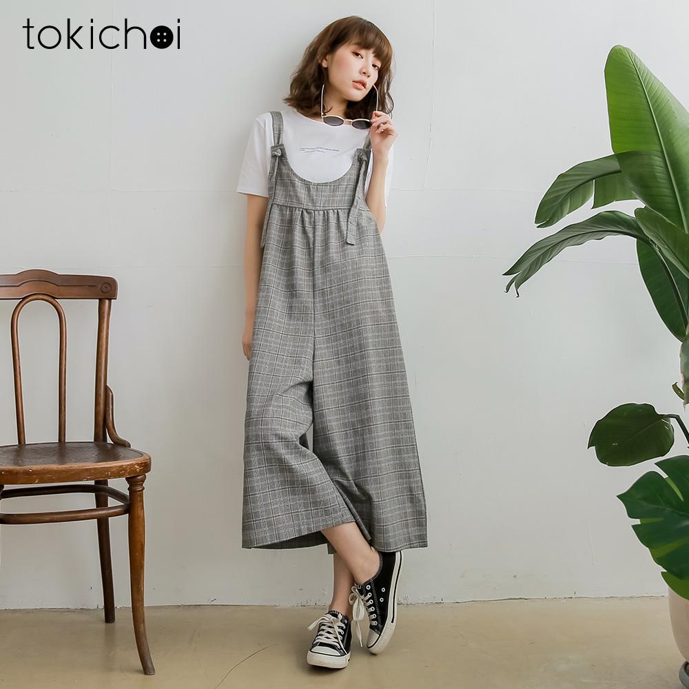 東京著衣 日系可愛綁結格紋吊帶寬褲-S.M.L