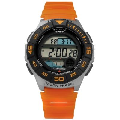 CASIO 卡西歐 電子液晶 月相潮汐顯示 半透明橡膠手錶-黑灰x橘/43mm