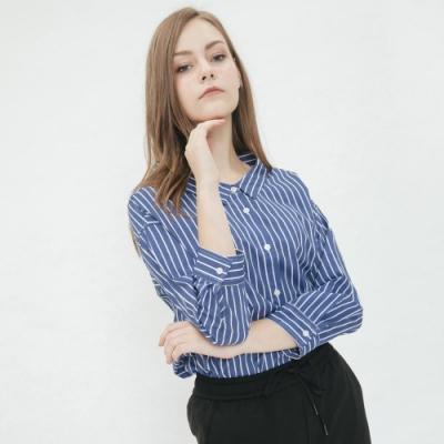 Hang Ten-女裝-後綁結直條襯衫-藍