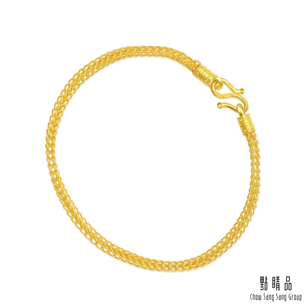 【點睛品】足金9999 雙層編織黃金手鍊17cm_計價黃金