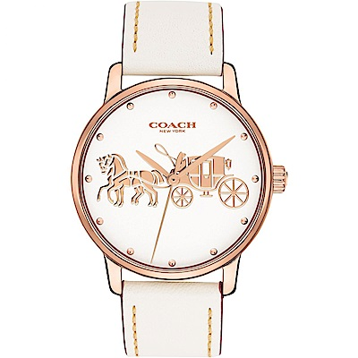 COACH Delancey  經典摩登馬車圖騰腕錶(14502973)-米白/36mm