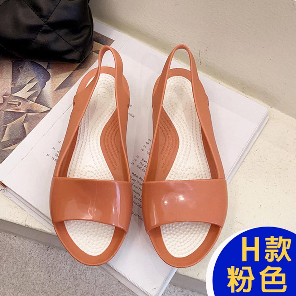 [時時樂限定]-KW韓國美鞋館 晴雨兩穿防水懶人鞋涼鞋涼跟鞋 (H款-粉)