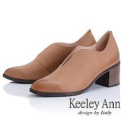 Keeley Ann 簡約百搭~MIT波浪鞋緣粗中跟全真皮踝靴(駱駝色)