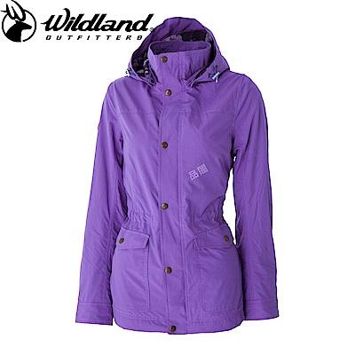 【Wildland 荒野】女Pile裡防風時尚保暖外套紫色