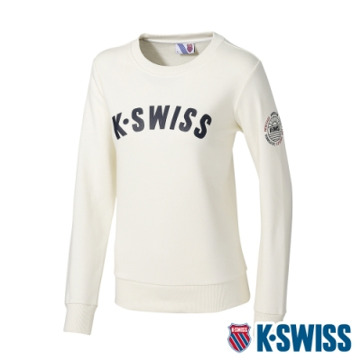 K-SWISS Curve KS Logo Sweatshirt刷毛圓領上衣-女-米白