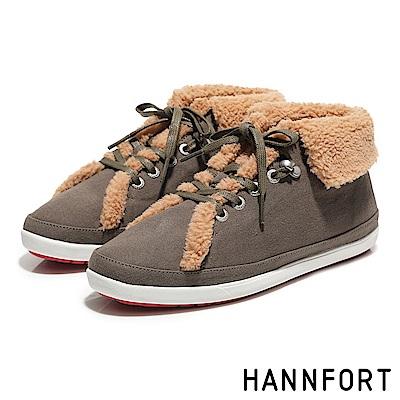 HANNFORT CALIFORNIA翻領羊毛氣墊帆布鞋-女-橄欖綠