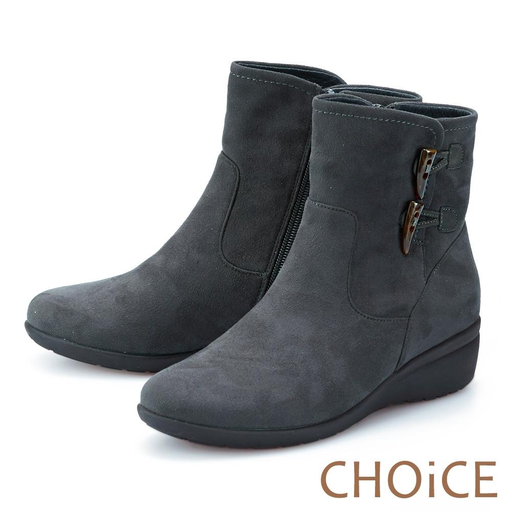 CHOiCE 復古絨布牛角釦 女 短靴 灰色