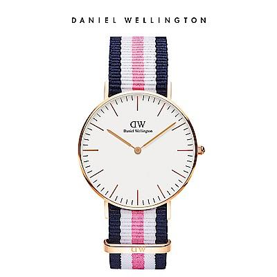 DW 手錶 官方旗艦店 36mm玫瑰金框 Classic 活潑藍白粉織紋錶