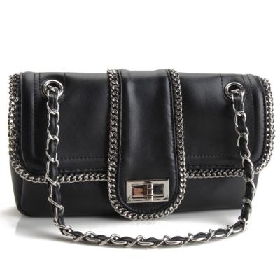 MOROM 真皮率性鍊飾造型三用包-黑色