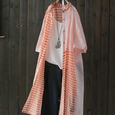 中長版拼接純棉格子襯衫短袖防曬衣-設計所在