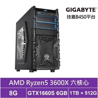 技嘉B450平台[魂鬥巫師]R5六核GTX1660S獨顯電玩機