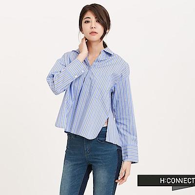 H:CONNECT 韓國品牌 女裝 - 開襟直紋短版襯衫-藍(快)