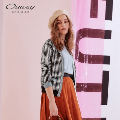 OUWEY歐薇 復古風羊毛撞色幾何針織外套(黑)