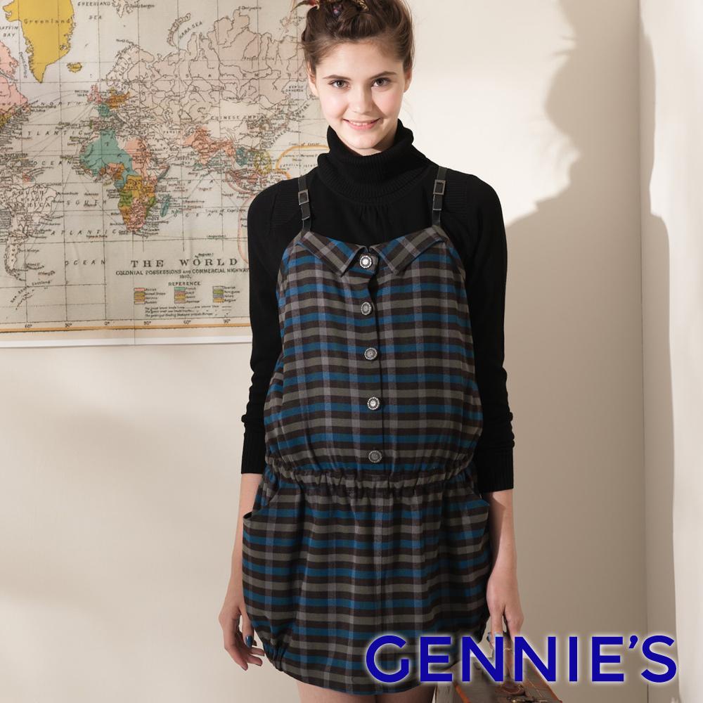 【Gennie's奇妮】可愛俏皮藍格紋拼接秋冬孕婦背心洋裝-藍(G2402)