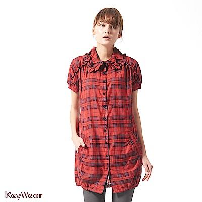 KeyWear奇威名品    絲光質感蘇格蘭格紋短袖洋裝-紅色