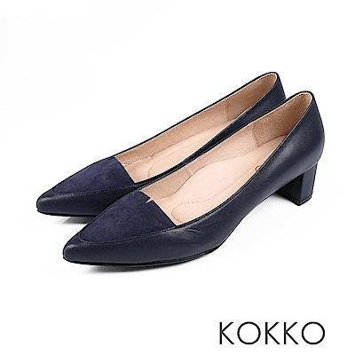 KOKKO-日本同步異材尖頭小V真皮粗跟-藍