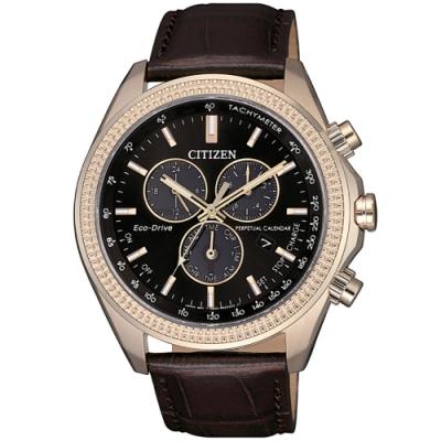 CITIZEN 星辰 光動能萬年曆三眼計時手錶-44mm/咖啡(BL5562-18E)