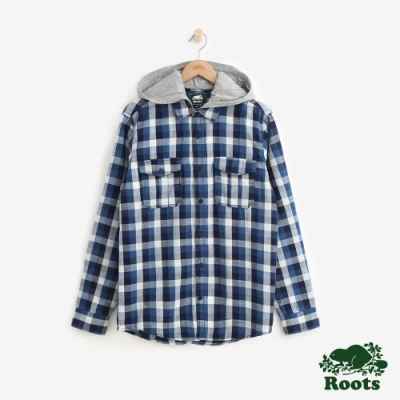 男裝Roots 全季節連帽長袖襯衫-藍