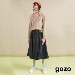 gozo 俐落感後鬆緊圓裙(二色)