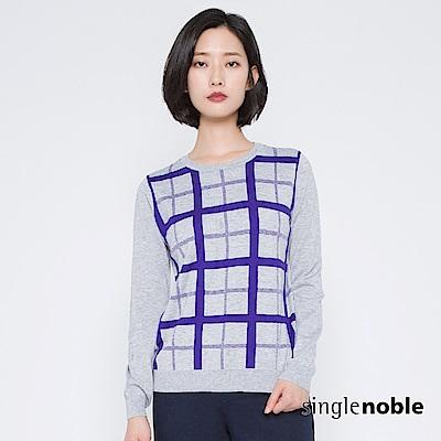 獨身貴族 都會剪影交錯織紋棋盤針織衫(2色)