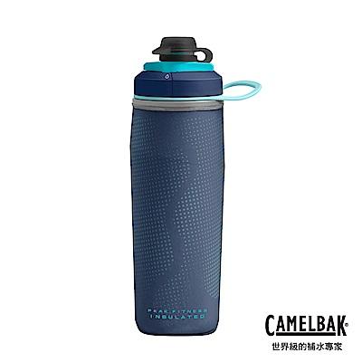 【美國 CamelBak】500ml Peak Fitness運動保冰噴射水瓶 海軍藍