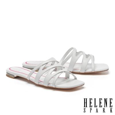 拖鞋 HELENE SPARK 簡約時尚交錯細帶全羊皮平底拖鞋-白
