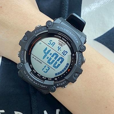 CASIO 10年電力系列超大字幕顯示運動感休閒錶-黑(AE-1500WH-1A)/51.2mm