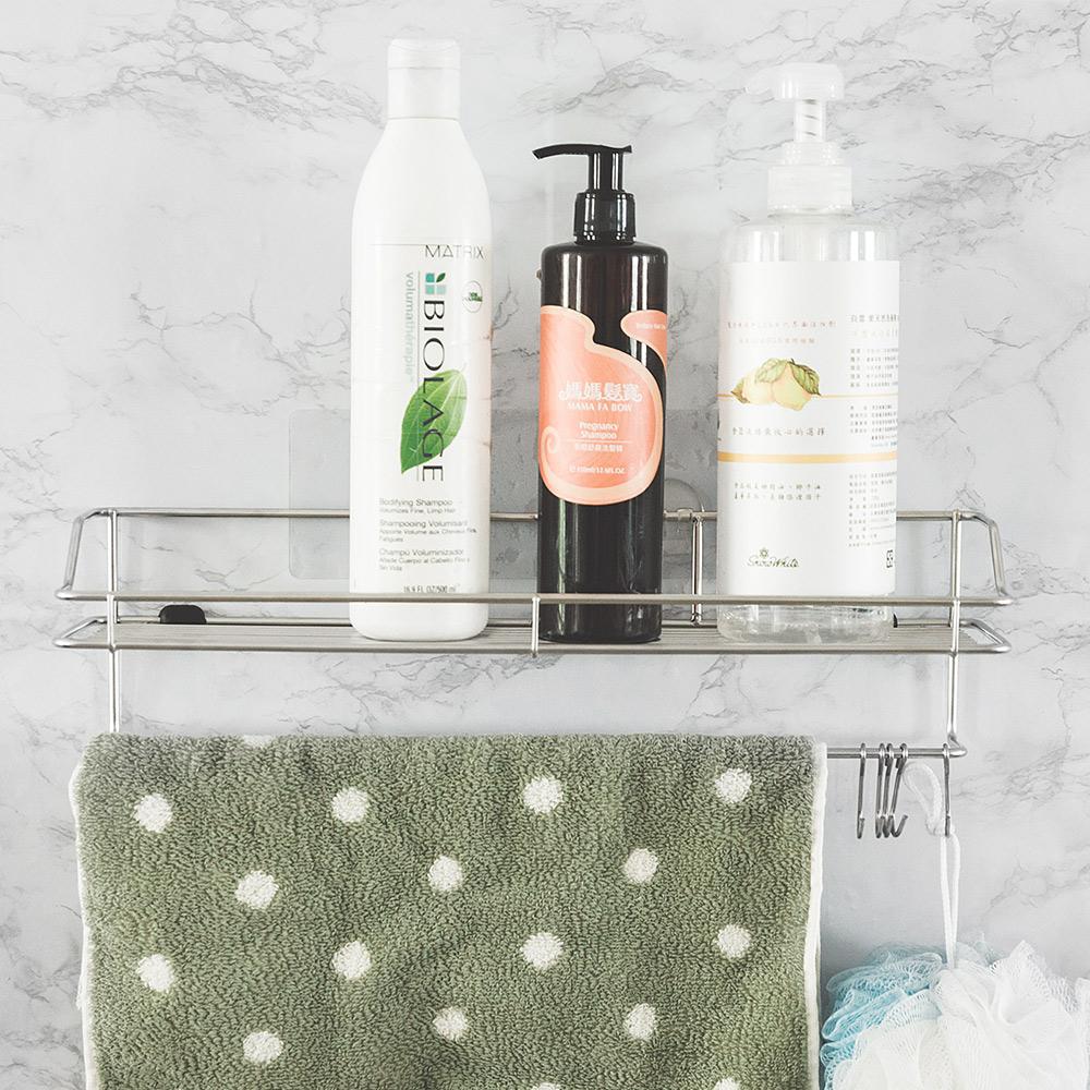 完美主義 304不鏽鋼浴室毛巾置物架/霧面貼(2入組)40x11x10cm